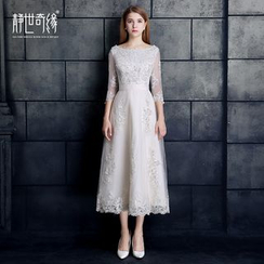Fantasy Bride - 3/4-Sleeve A-Line Midi Evening Dress