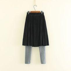 三木社 - 抓毛內襯假兩件內搭褲