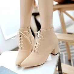 Pretty in Boots - Pointed Block Heel Ankle Boots