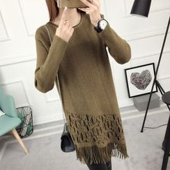 anzoveve - Fringe Hem Long Sweater