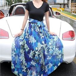 NINETTE - 短袖印花長連衣裙