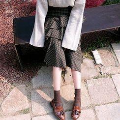 chuu - Asymmetric-Ruffle Plaid Long Skirt