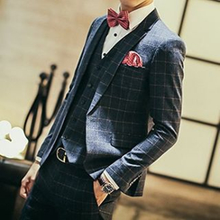 Besto - Set : Woolen Check Blazer + Vest + Dress Pants