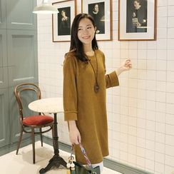 CLICK - Round-Neck Ribbed Knit Dress
