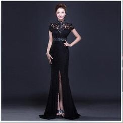 Posh Bride - Short-Sleeve Lace Sheath Evening Gown
