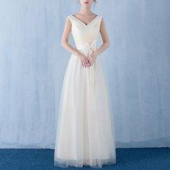 名貴風格 - 無袖V領晚禮服