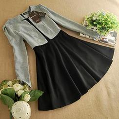 朵唯思 - 假兩件長袖連衣裙