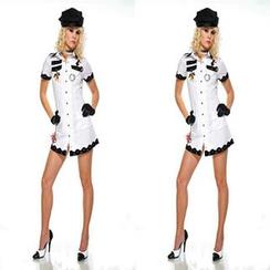 Cosgirl - Navy Party Costume Set: Hat + Dress + Gloves + Choker
