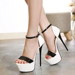 Monde - 踝带厚底扣带高跟鞋凉鞋