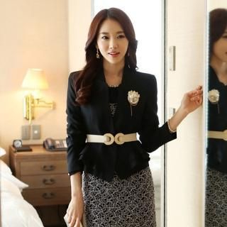 Styleonme - Padded Shoulder Peplum Jacket