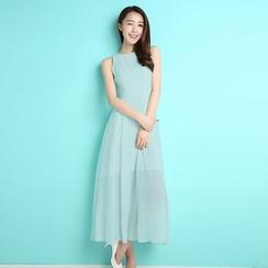 Sonatine - 無袖雪紡連身長裙