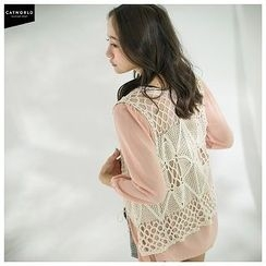 CatWorld - Lace Panel Chiffon Cardigan