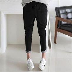 CHICFOX - Drawstring-Waist Pocket-Back Pants