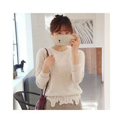 LEELIN - Lace-Hem Wool Blend Sweater