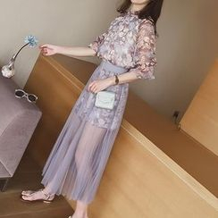 Cocofield - Set: Floral Print Elbow-Sleeve Dress + Pleated Mesh Midi Skirt