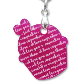 Sweet & Co. - I Love Cupcakes Mirror Fuchsia Charm Necklace