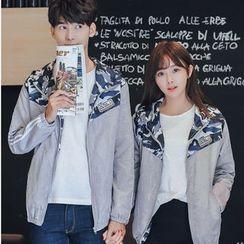 TOOI - Couple Matching Camo Print Panel Hooded Zip Jacket