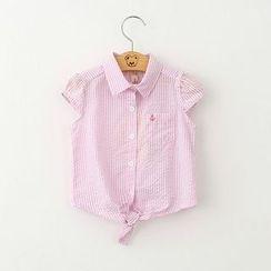 Cuckoo - Kids Striped Tie Waist Short Sleeve Shirt