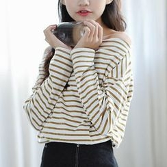 Woodie - Long-Sleeve Striped Off Shoulder T-Shirt