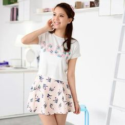 59 Seconds - Set: Short-Sleeved Letter Print Top + Floral A-Line Skirt