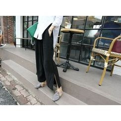 MARSHMALLOW - Slit-Side Wide-Leg Pants