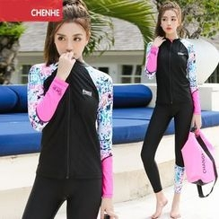 Morning Dew - Set : Patterned Zip Rashguard + Water Pants