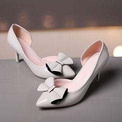 缤纷女鞋 - 蝴蝶结尖头高跟鞋