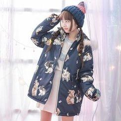 Suzette - Rabbit Print Hooded Jacket
