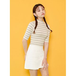 icecream12 - Mock-Neck Short-Sleeve Striped T-Shirt