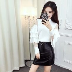 Mi Camilla - Set: Tulle Panel Ruffle Top + Miniskirt