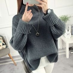 anzoveve - Chunky Knit High Neck Sweater