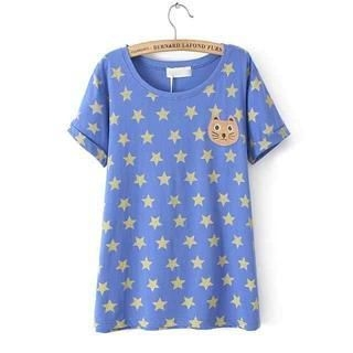 JVL - Short-Sleeve Appliqué Star-Print T-Shirt