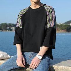子俊 - 图案拼接七分袖T恤