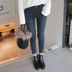 Seoul Fashion - Fray-Hem Brushed-Fleece Lined Skinny Jeans