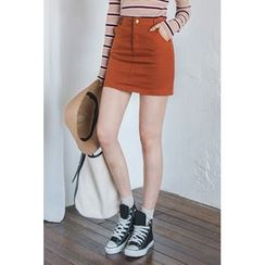 migunstyle - Plain Colored Mini Skirt