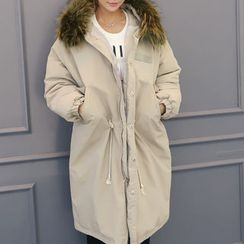 DANI LOVE - Detachable Faux-Fur Trim Hooded Long Parka
