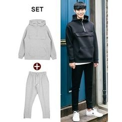 STYLEMAN - Set: Hooded Neoprene Pullover + Zip-Hem Sweatpants