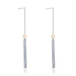 MBLife.com - 925 Sterling Silver CZ Tassel Threader Earrings