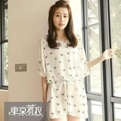 Tokyo Fashion - Elbow-Sleeve Dog Print Long Top