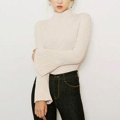 chuu - Mock-Neck Bell-Sleeve Rib-Knit Top