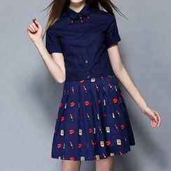 妮佳 - 套装: 短袖衬衫 + 打褶裥裙
