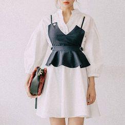 chuu - Inset Peplum Bustier Top Balloon-Sleeve A-Line Dress
