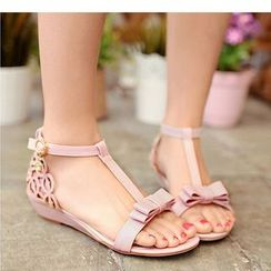 Freesia - Perforated T-strap Sandals