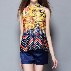 Merald - Set: Sleeveless Print Top + Shorts
