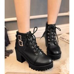 Freesia - 粗跟繫帶鞋