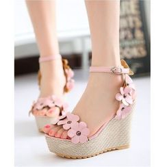 Freesia - Floral Wedge Sandals
