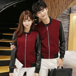 Evolu Fashion - Couple Matching Faux Leather Panel Baseball Jacket