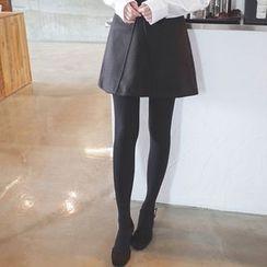 mimi&didi - Seam-Trim Wool Blend A-Line Mini Skirt