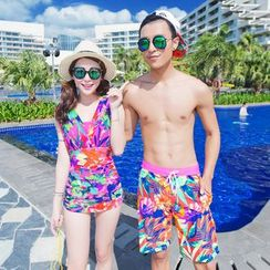 Goldlyre - Couple Matching Set: Printed Swimsuit + Swim Trunks