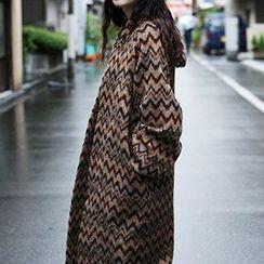 Ashlee - Wave Patterned Long Knit Jacket